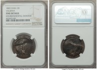 Valdivia. City Emergency Issue 2 Reales 1822 Fine Details (Environmental Damage) NGC, Chinumpa mint, KM2. Fascinating and incredibly historic, this we...
