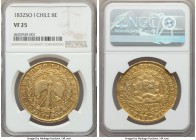 Republic gold 8 Escudos 1832 So-I VF25 NGC, Santiago mint, KM84. Very well preserved in the peripheral regions with the general integrity of the major...