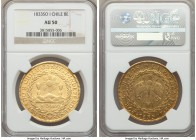 Republic gold 8 Escudos 1833 So-I AU50 NGC, Santiago mint, KM84. Quite attractive for the assigned grade, traces of original luster preserved around t...