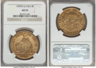 Republic gold 8 Escudos 1839 So-IJ AU53 NGC, Santiago mint, KM104.1. The first year of this popular and elusive Liberty type, displaying noticeably st...