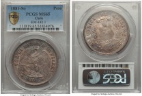Republic Peso 1881-So MS65 PCGS, Santiago mint, KM142.1. A markedly pristine gem, none ranking higher at either NGC or PCGS, showcasing a bold peach g...