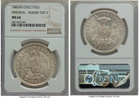 Republic Peso 1883-So MS64 NGC, Santiago mint, KM142.1. Round top 3.  HID99912102018