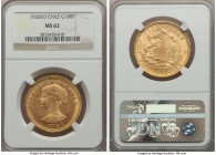 Republic gold 100 Pesos 1926-So MS62 NGC, Santiago mint, KM170. Luminosity and a mildly prooflike finish in the fields is complemented by thick die po...