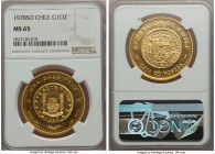 Republic gold Onza 1978-So MS65 NGC, Santiago mint, KM-X2. AGW 0.999 oz.  HID99912102018