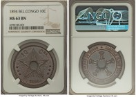 Belgian Colony. Leopold II 10 Centimes 1894 MS63 Brown NGC, KM4. Marvelously presentable and fully brown, with an intriguing glow that emanates from t...