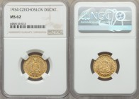 Republic gold Ducat 1934 MS62 NGC, KM8. A very low mintage date for which only 9,729 pieces were struck.  HID99912102018