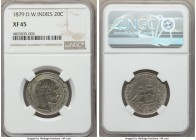 Danish Colony. Christian IX 20 Cents 1879-(h) XF45 NGC, Copenhagen mint, KM71. Attractively aged with a maritime feel produced from a fusion of graphi...