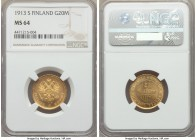Russian Duchy. Nicholas II gold 20 Markkaa 1913-S MS64 NGC, Helsinki mint, KM9.2. The final year for this highly collectable issue, evincing notably l...