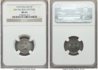 Republic iron Trial Strike 5 Pennia 1918 MS65 NGC, KM-TS6. An extremely rare and exceptionally attractive smaller trial piece, steely gray with a sple...