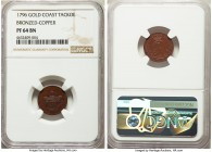 British Outpost. George III bronzed-copper Proof Pattern Tackoe Token 1796 PR64 Brown NGC, Soho mint, KM-Pn1. Supremely mahogany with a penultimate re...