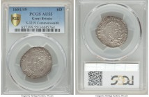 Commonwealth 6 Pence 1651/49 AU55 PCGS, Sun mm, KM389.1, S-3219. Remarkably the first example of this rare overdate that we have encountered, and the ...