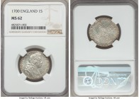 William III Shilling 1700 MS62 NGC, KM504.1, S-3516. An icy specimen utterly devoid of any of the weakness or shallowness of strike so typical of Will...