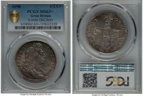 William III 1/2 Crown 1698 MS63+ PCGS, KM492.2, S-3494. DECIMO edge. Pervaded by an uncharacteristic originality throughout for an issue of William II...