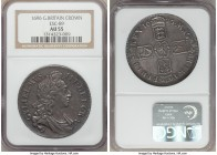 William III Crown 1696 AU55 NGC, KM494.1, ESC-89. Splendidly steely and amazingly near to mint quality both for the type and the assigned grade, tiny ...