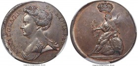 Anne copper Proof Pattern Restrike 1/2 Penny ND (c. 1737-1745) PR63 Brown PCGS, Peck-731 (R). A rather charming example of this rare 1/2 penny pattern...