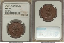 "George III bronze Proof Pattern ""Restrike"" 1/2 Penny 1799-SOHO PR63 Brown NGC, Soho mint, Peck-1258 (R). An exemplary Taylor-period pattern that is ra..."
