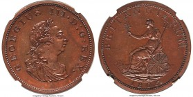 George III Bronzed Proof Pattern Restrike Penny 1805-SOHO PR63 Brown NGC, by Taylor after Küchler, Peck-1294. A charming restrike issue with gleaming ...