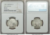 George III Shilling 1787 MS64 NGC, KM607.2. With stop after III and hearts in the Hannoverian shield. Especially silky, the present offering evinces s...