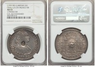 George III Counterstamped Bank Dollar of 5 Shillings ND (c. 1797-1799) AU55 NGC, KM634, cf. KM109 (for host). Displaying round bust of George III coun...