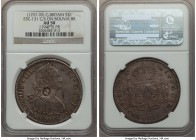 George III Counterstamped Bank Dollar of 5 Shillings ND (1797-1799) AU50 NGC, KM626, ESC-131, cf. KM73 (for host). Displaying Type I oval bust of Geor...