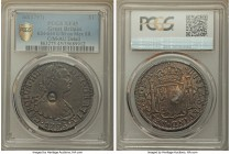 George III Counterstamped Bank Dollar of 5 Shillings ND (1797-1799) XF45 PCGS, KM634, cf. KM109 (for host). Displaying round bust of George III counte...
