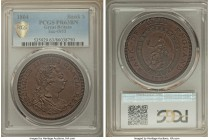 George III copper Proof Bank Dollar of 5 Shillings 1804 PR63 Brown PCGS, KM-Tn1a, ESC-1956 (R3). A highly desirable copper striking of this popular Ba...