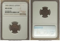 Othon Lepton 1845 MS63 Brown NGC, Athens mint, KM22. A rich dark chocolate rendition of this 3-year type, only two currently positioned higher in the ...