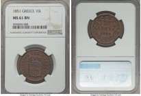 Othon 10 Lepta 1851 MS61 Brown NGC, Athens mint, KM29. A generally low mintage type that comes highly competitively pursued in upper grades, the prese...