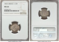 Othon 1/2 Drachma 1833 MS64 NGC, KM19. With enchanting russet autumnal orange and red tone on the reverse and a mottling of sapphire on the reverse, n...