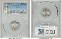 George I 20 Lepta 1883-A MS64 PCGS, Paris mint, KM44. Remarkably choice and the second finest certified by PCGS, the fields in full silvery bloom with...