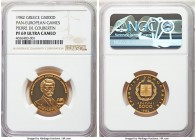 Republic gold Proof 5000 Drachmai 1982 PR69 Ultra Cameo NGC, KM143. Pan-European Games honoring Pierre de Coubertin.   HID99912102018