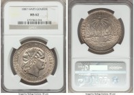 Republic Gourde 1887-(a) MS62 NGC, Paris mint, KM46. Argent and well struck, with a rolling cartwheel luster that enlivens the surfaces.  HID999121020...