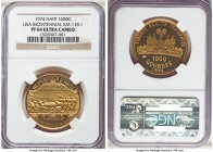 "Republic gold Proof ""USA Bicentennial"" 1000 Gourdes 1974 PR64 Ultra Cameo NGC, KM118.1. Proof Mintage: 480. AGW 0.3761 oz.  HID99912102018"