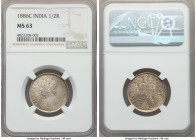 British India. Victoria 1/2 Rupee 1886-C MS63 NGC, Calcutta mint, KM491. Choice Mint State, and tied for second-highest graded at NGC to-date.  HID999...