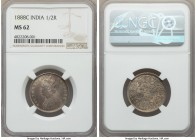 British India. Victoria 1/2 Rupee 1888-C MS62 NGC, Calcutta mint, KM491. Toned to a pleasing midnight hue.  HID99912102018
