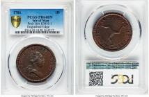 George III Proof Penny 1786 PR64 Brown PCGS, KM9.1, Prid-16A. Engrailed edge variety. Chocolate brown surfaces with localized crimson spotting on both...