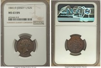 Victoria 1/52 Shilling 1841/0 MS63 Brown NGC, KM1. Especially glossy with a full antique wood finish, the silhouette of the underlying 0 visible aroun...