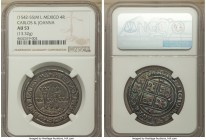 Charles & Johanna 4 Reales ND (1542-1555) M-L AU53 NGC, Mexico City mint, 13.32gm, KM0018. Absolutely stunning, a piece with enough die polish lines f...