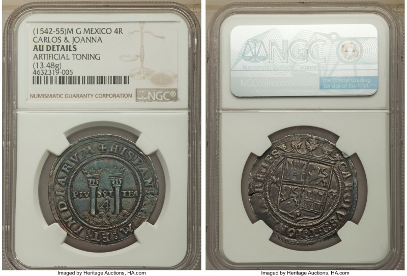 Charles & Johanna 4 Reales ND (1542-1555) M-G AU Details (Artificial Toning) NGC...