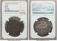 Philip V Klippe Cob 8 Reales 1733 Mo-MF XF45 NGC, Mexico City mint, 26.90gm, KM48. Very handsome for this highly sought-after, yet often crude, klippe...