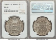 Philip V 8 Reales 1746 Mo-MF MS61 NGC, Mexico City mint, KM103. Outranked by only 2 example certified MS62 by NGC, very rarely does one encountered a ...