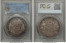 "Ferdinand VI 8 Reales 1753 Mo-MF AU55 PCGS, Mexico City mint, KM104.1. A bold striking with ""PLUS VLRTA"" finely etched into the pillars, a few minor a..."