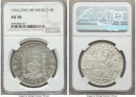 Charles III 8 Reales 1763/2 Mo-MF AU58 NGC, Mexico City mint, KM105. A rather premium icy white example, the flow lines at the legends especially radi...