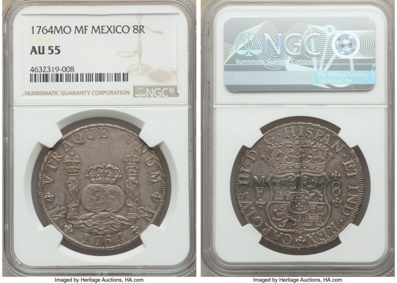 Charles III 8 Reales 1764 Mo-MF AU55 NGC, Mexico City mint, KM105. Quite luminou...