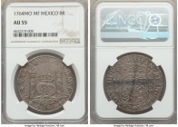 Charles III 8 Reales 1764 Mo-MF AU55 NGC, Mexico City mint, KM105. Quite luminous in its argent fields, die polish lines detectable in the obverse rig...