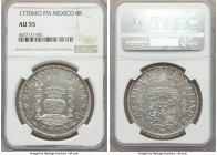 Charles III 8 Reales 1770 Mo-FM AU55 NGC, Mexico City mint, KM105. Glassy and lustrous, with a well-placed strike and strong detail despite even light...