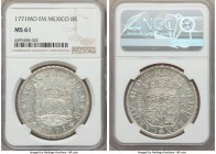 Charles III 8 Reales 1771 Mo-FM MS61 NGC, Mexico City mint, KM105. With only scattered contact marks to cap the assigned grade, this luminous frosty s...