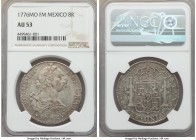 Charles III 8 Reales 1776 Mo-FM AU53 NGC, Mexico City mint, KM106.2. Lightly toned, with some surfaces abrasions yet little actual wear to the devices...