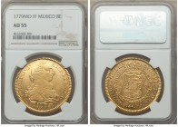 Charles III gold 8 Escudos 1779 Mo-FF AU55 NGC, Mexico City mint, KM156.2, Onza-772. A superb example with free-flowing glassy luster and minimal wear...