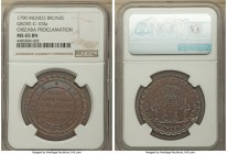 Orizaba. Charles IV bronze Proclamation Medal 1790 MS65 Brown NGC, Grove-C-103a, Medina-203var (in silver). A visually stunning specimen, the chocolat...